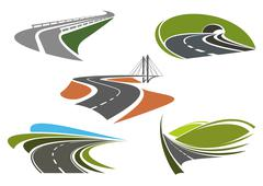 Asphalt highway and roads abstract icons - stock illustration