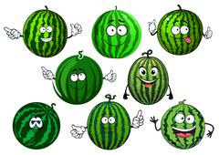 Cartoon green striped watermelon fruits Stock Illustration