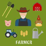 Farmer and agriculture flat icons - stock illustration