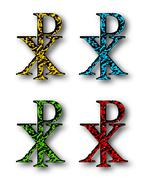 CHI RHO christian symbol set with drop shadow - stock illustration