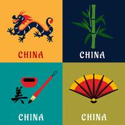 China culture and tradition flat icons - stock illustration