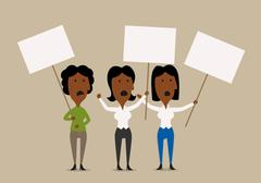 Cartoon businesswomen protesters with placards - stock illustration