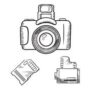 Photo camera, memory card and film roll sketches Stock Illustration