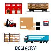 Stock Illustration of Delivery and storage service flat icons