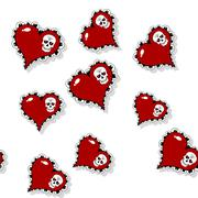 Seamless pattern with ornate red heart and skull - stock illustration