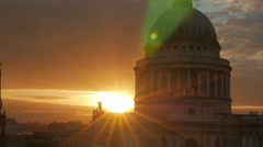 St Pauls Cathedral Sunset Telephoto Small Aperture - stock footage