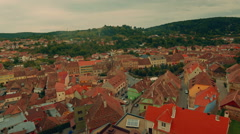Transylvania Sighisoara Panoramic View Wide Stock Footage
