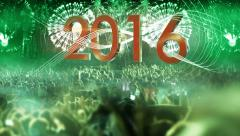 2016_crowd of people and fireworks explosions (zoom out camera) GREEN Stock Footage