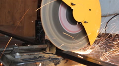 Sparks from cutting metal pipe cutter Stock Footage