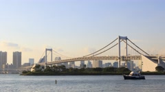 Stock Video Footage of time lapse of rainbow bridge in odaiba tokyo japan