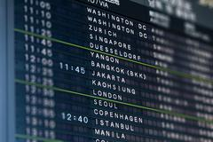 International Airport Flight Information Board Stock Photos
