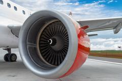 Red Engine of a Commercial Plane Stock Photos
