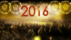 2016_crowd of people and fireworks explosions (zoom out camera) YELLOW - stock footage