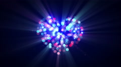 Flashing disco heart shape loopable animation 4k (4096x2304) Stock Footage