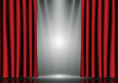 Red curtains on lighting stage - stock illustration