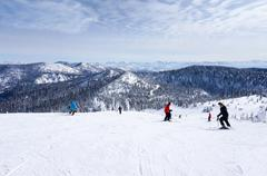 Skiing on The Big Mountain at Whitefish, Montana - stock photo