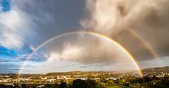 City urban house sky rainbow rain Kuvituskuvat
