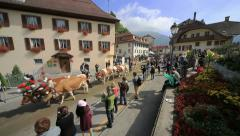 The Désalpes in Charmey, Switzerland. Extreme wide angle of parade. Stock Footage