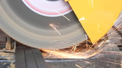 Sparks from cutting metal pipe cutter. Stock Footage