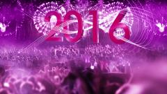 2016_crowd of people and fireworks explosions (zoom out camera) PURPLE Stock Footage