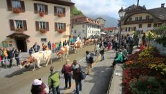 The Désalpes in Charmey, Switzerland. Wide angle pan of the parade. Stock Footage
