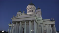 Helsinki Cathedral (in 4k) in the evening, Helsinki, Finland. Stock Footage