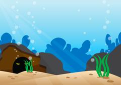 Under the sea scene with detail bottom of the sea Stock Illustration