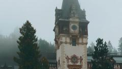 Transylvania Misty Peles Castle in Sinaia Ultra Close-up Tilting Front Stock Footage