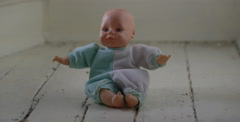 Creepy Baby Doll - Vintage Horror - Haunted Objects Stock Footage