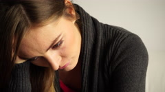 Woman face sad and stressed closeup 4K Stock Footage