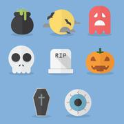 Set of halloween icons Stock Illustration