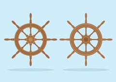 Marine helm, Two styles of steering wheel isolated - stock illustration