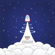Rocket launched into the space - stock illustration