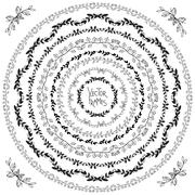 Set of decorative floral round frames and corner elements - stock illustration