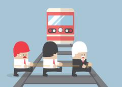 Business leader crossing railroad by ignoring his team. - stock illustration