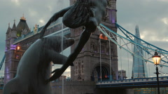 Tower Bridge-Night-Surroundings-Dolphin Statue Stock Footage