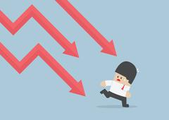 Businessman run away from falling graph, Downtrend - stock illustration