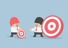 Businessman has bigger target than his friend - stock illustration
