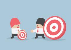Businessman has bigger target than his friend Stock Illustration