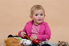 one year baby portrait - stock photo