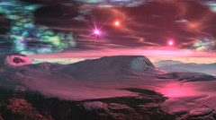 Sunrise pink stars on a snowy planet Stock Footage