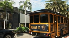 Rodeo drive tour bus Stock Footage