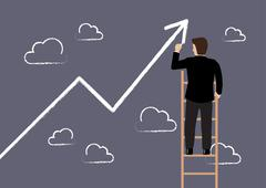 Business man standing on ladder drawing growth chart - stock illustration