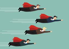 Businessman superhero fly competition Stock Illustration