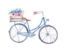 Watercolor vintage  bicycle with box of flowers - stock illustration