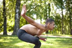 Preparation for Toestand yoga pose - stock photo
