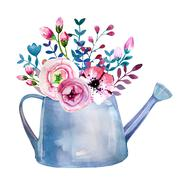 Stock Illustration of Watercolor bouquets of flowers in pot. Rustic floral set