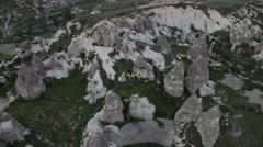 Extinct volcanoes aerial bird's eye view of Cappadocia, Turkey - stock footage