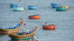 Beautiful view on blue sea and fishing boats.  Vietnamese lifestyle. Static shot Stock Footage