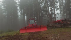 Red Machine In Dark Foggy Forest Stock Footage